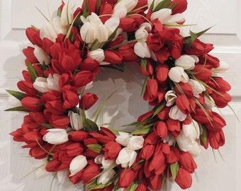 Tulip Wreath, Spring Wreath, Front Door Wreath, Red and White tulips