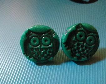Nickel size Handmade polymer clay owl studs