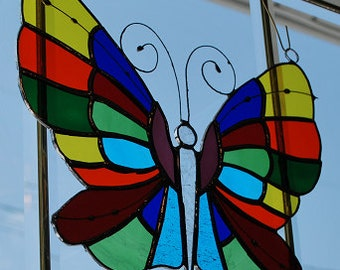 Colorful stained glass butterfly suncatcher, wall hanging