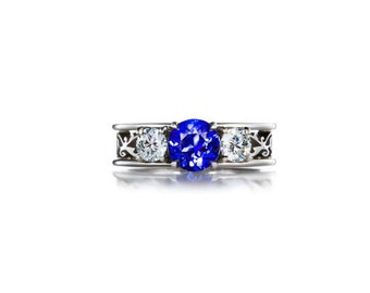trilogy filigree ring with blue sapphire, diamond ring, filigree ring, engagement, lace, wedding, blue, sapphire engagement, diamond, custom
