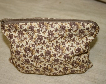 Brown Floral  Pouch,Handmade School Pencil case , Handmade  Zipper Pouch, Cotton Pouch, Cosmetics Pouch, Travel Pouch