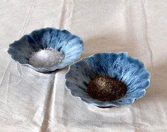 Icy Blue Pinch Bowls/Shell Bowls/Ceramic Pinch Bowls/Blue Ceramic Bowls/Ring Bowls/Salt and Pepper Bowls/Ceramic Ring Bowls/Ceramics/Organic