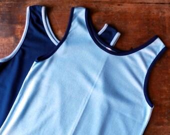 Vintage 1970s Blue Cotton Tank Tops, (Men) Medium