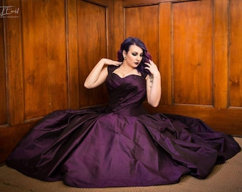 Purple wedding gown, silk taffeta corset gown