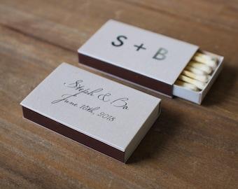 Personalized Wedding Classic Box Matches, set of 50 || custom wedding matchbox favors cigar bar matchbook favors foil 01-008-020