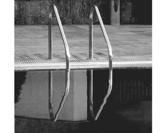 Black and White Photography , Lonely Pool, Printable, Digital Download, Monochrome Wall Decor, Modern & Minimal, Contemporary Wall Art