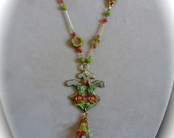 Boho Victorian Charm Necklace, Pendant Assemblage, Repurposed Escutcheon, Leaves and Flowers