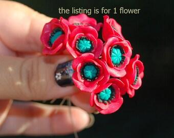 Red poppy flower, 1 FLOWER, polymer clay poppy flowers, jewelry making supplies, polymer clay flower beads, polymer clay miniature flower