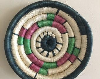 Vintage Woven Hanging Coil Basket