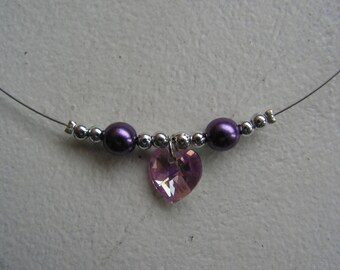 Pink and plum, heart charm, Pearl Necklace