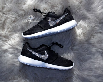 Nike Roshe One made with SWAROVSKI® Crystals - Black/White/Metallic Platinum