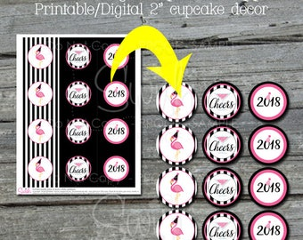 """New Years Eve Flamingo Cupcake Toppers 