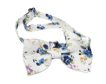 Men's Ivory Purple and Blue Floral Pre-Tied Adjustable Bow Tie - Flowers Bowtie