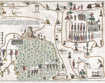 Map Of Aztec Migration Aztlan To Chapultapec; Antique Map; Gemelli, 1704