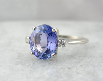 Perfect Violet Tanzanite Gemstone in a Simple White Gold Ring VC8AYW-R