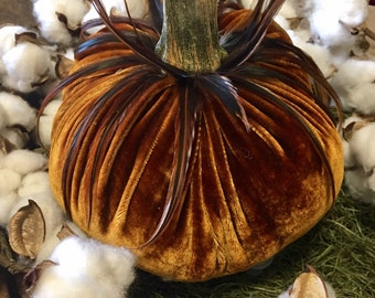 """8"""" Amber Velvet Pumpkins with Real Pumpkin Stems and Feathers"""