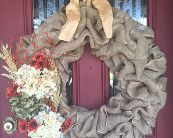 Fall burlap wreath; fall wreath; fall burlap wreath with hydrangeas; fall hydrangea wreath; hydrangea wreath; burlap wreath with hydrangeas