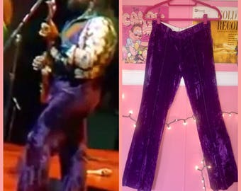 70s Deep purple high rise velvet flares