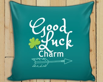 St Patricks Day 2018 Throw Pillow Home Decor Cover + Insert Irish Lucky Clove Good Luck Charm