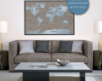 Printable wanderlust world map download large detailed world detailed world map download blue brown world map printable 32x48 large world map city capital country gumiabroncs Choice Image