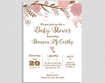 Pink Mason Jar Baby Shower Invitation, Pink and Brown Branch, Baby Girl Invite, DIY PRINTABLE