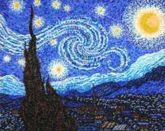 Starry Night Beading Kit// Van Gogh Embroidery Kit// Beaded Starry Night Kit// Starry Night Embroidery Kit// Beaded Van Gogh Painting Kit