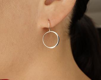 Circle Drop Earrings in Sterling Silver, Dangle Earrings, wedding ,bridal jewelry,16