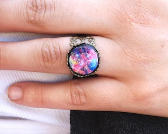 Galaxy ring- Universe ring- Space ring- Nebula ring- Space Nebula Jewelry- Cosmos ring- nebula jewelry- Night Sky- Black- Blue- Purple