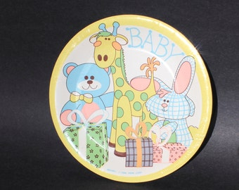 8 Baby Shower or Baby Birthday Plates from 1980