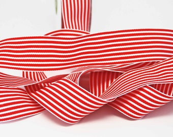 Striped Grosgrain Ribbon -- 1.5 inches -- Red White