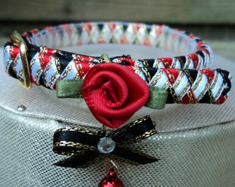 Kitten Collar Designer Red and Black with Red Rose