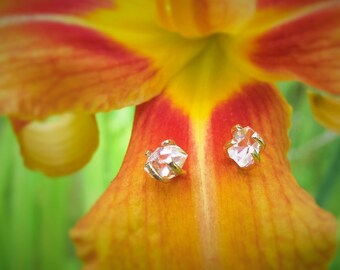 Herkimer Diamond Stud Earrings, Boho Crystal Earrings, Minimal Gold Earrings, Raw Rough Stone Uncut Gemstone, April Birthstone Gift for her
