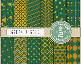 Gold Foil Digital Paper Pack | Scrapbook Paper | Printable Backgrounds | 12 JPG, 300dpi Files | BUY5FOR8