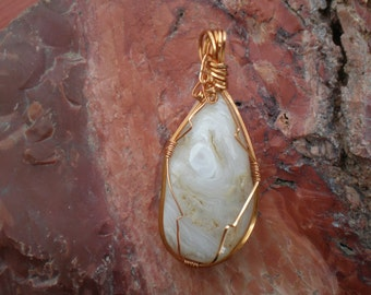 Crazy lace agate, pendant, wire wrapped, handmade, crystal pendant, natural stone