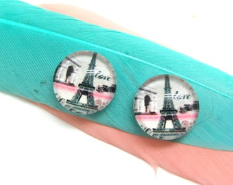 Set of 2 cabochon 10 mm glass Eiffel Tower Love Vintage black and white - 10 mm
