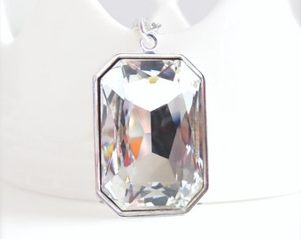 Large clear crystal pendant - crystal necklace - emerald octagon - designed with Swarovski® crystals