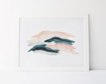 Watercolor Painting, Modern Watercolor Fine Art Giclée Print, Abstract Landscape, Dark Green and Blush