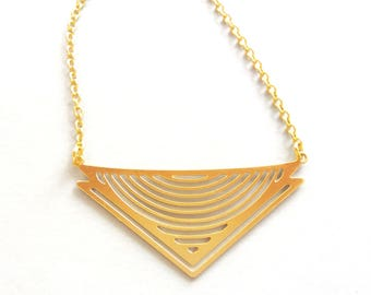 Triangle Pendant Necklace, Geometric Necklace, Minimal Jewelry, Geometric Pendant, Triangle Necklace, Chevron Necklace, Gold Chevron Pendant