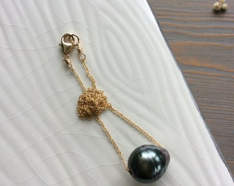 large tahitian pearl floating necklace