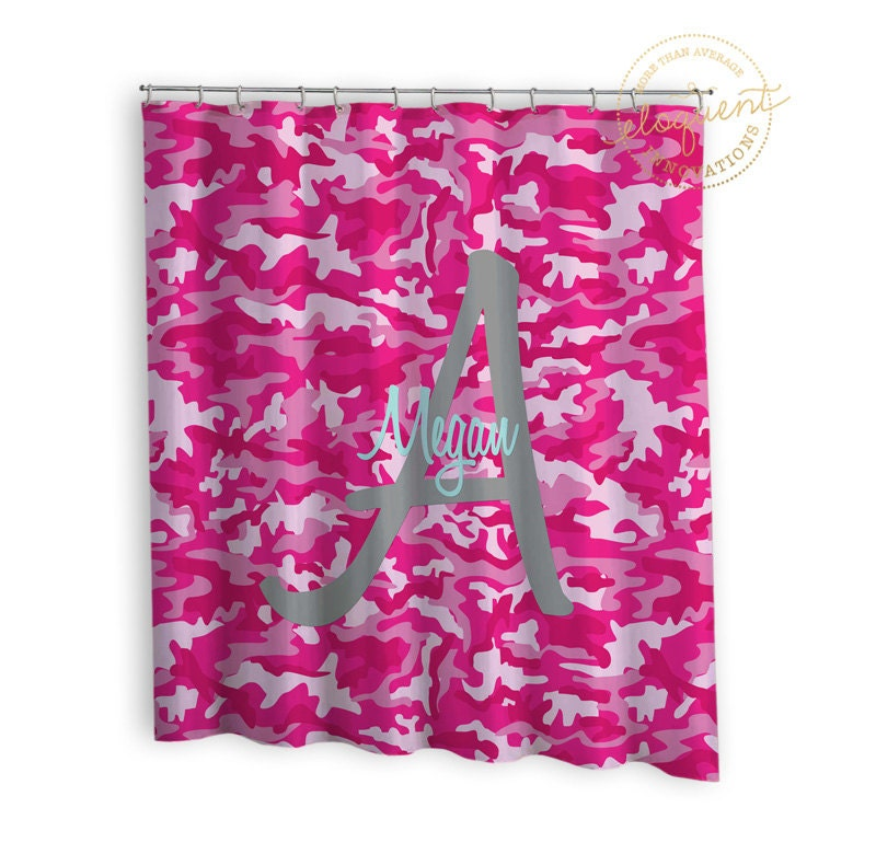 Pink Camo Shower Curtain Girls Camouflage Camo Shower