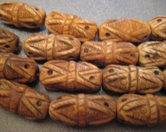 Camel Bone Carved Beads 8pcs
