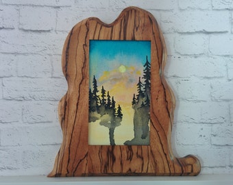 "Original Miniature Painting, ""Global Warming"", Acrylic on Canvas, Custom Exotic Hardwood Frame"