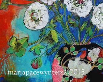 Asian Vase With Flowers -ACEO  Open edition reproduction by Maria Pace-Wynters