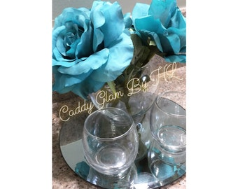 Teal Rose Circle Caddy