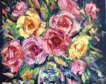 Roses Painting Original Oil Floral Painting 12 x 12""