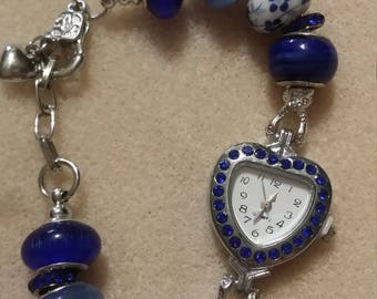 Rhinestone watch with European big hole beads