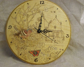 Wooden Wall Clock with Pokerwork design countryside scene