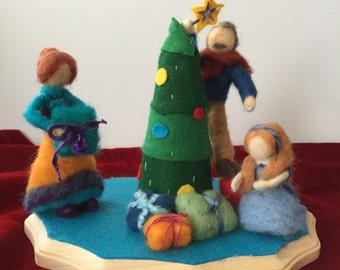 Decorating the Christmas Tree, Holiday Decoration, Needle Felted Christmas Scene