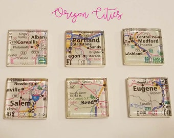 CITIES in OREGON Map Magnet Set // 6 1-inch Square Magnets // Handmade // FUNDRAISER for Humanitarian Trip