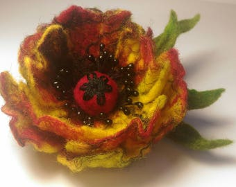 Yellow Black Red Flower,  Brooch Flower, Wool Jewelry, Felt Flower Pin, Wool Brooch, Gift for her, Handmade